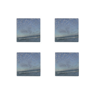 Beach Clouds Stone Magnet