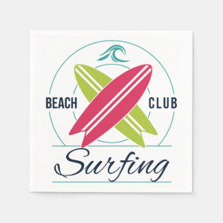Beach Club Surfing paper napkins