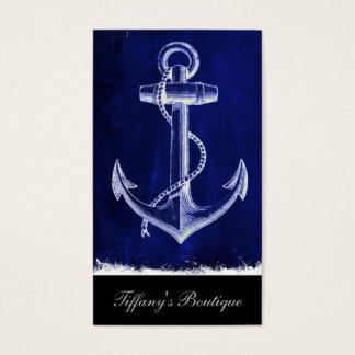 beach coastal chic nautical navy blue anchor business card