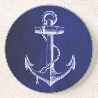 beach coastal chic nautical navy blue anchor coaster