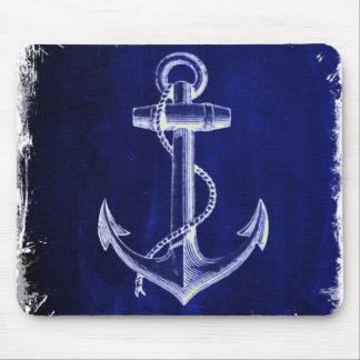 beach coastal chic nautical navy blue anchor mouse pad