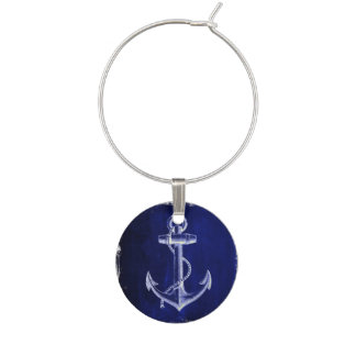 beach coastal chic nautical navy blue anchor wine charm