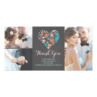 Beach Coastal Nautical Heart Wedding Thank You Card