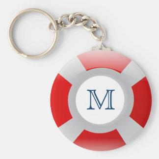 Beach Collection: Lifesaver Monogram Basic Round Button Key Ring