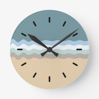 Beach Color- Light Brown Sand Beige Turquoise Blue Round Clock