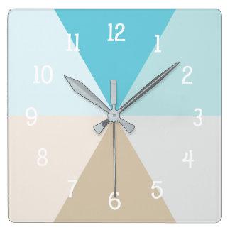 Beach colors geometric room decor square wall clock