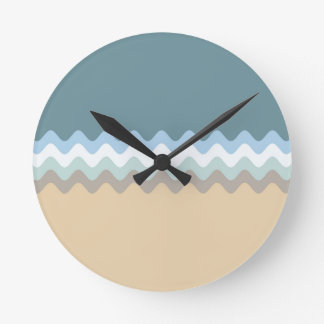 Beach Colors Light Brown/Sand/Beige/Turquoise/Blue Round Clock
