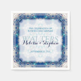 Beach Coral Blue Wedding  Dinner Paper Napkins