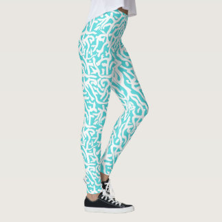Beach Coral Reef Nautical White Aqua Blue Sea Leggings