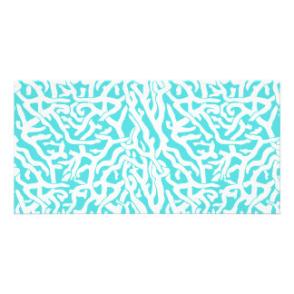 Beach Coral Reef Pattern Nautical White Blue Photo Cards