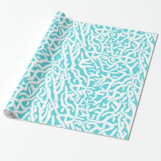Beach Coral Reef Pattern Nautical White Blue Wrapping Paper