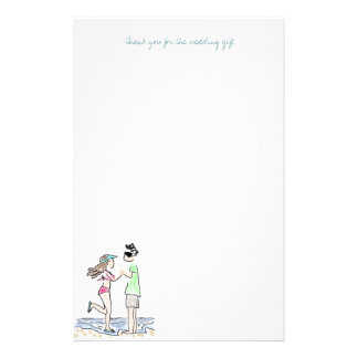 Beach Couple Thank You Note Paper Personalised Stationery