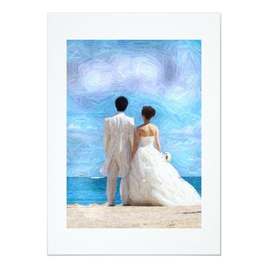 Beach couple wedding invitation