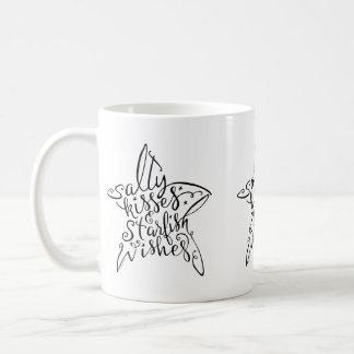 Beach Design Salty Kisses and Starfish Wishes Coffee Mug