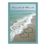Beach Destination Wedding 5x7, Sand Hearts Custom Invites