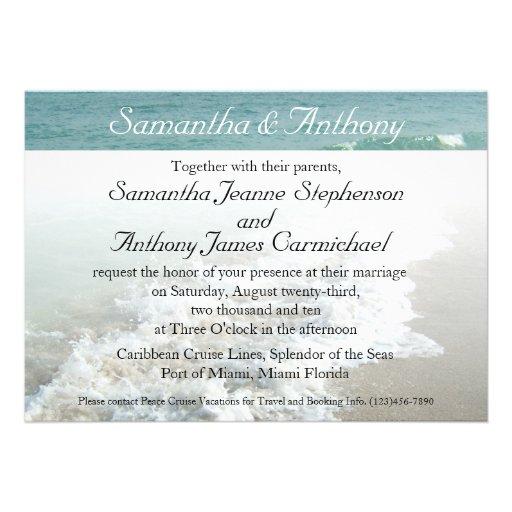 Beach Destination Wedding Invitation, Aqua Surf