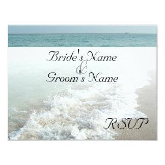 Beach Destination Wedding Matching RSVP White Wave Card