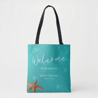 Beach destination wedding welcome blue starfish tote bag