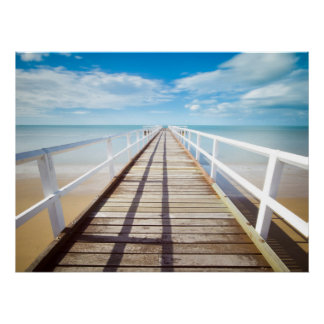 Beach Dock Ocean Print Poster Artwork Mural