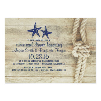 Beach Driftwood Nautical Navy Rehearsal Dinner Card
