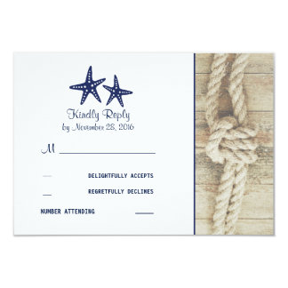 Beach Driftwood Rustic Nautical Wedding RSVP Cards