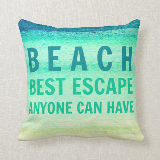 Beach Escape Turquois Ocean Typography Pillow Throw Cushions