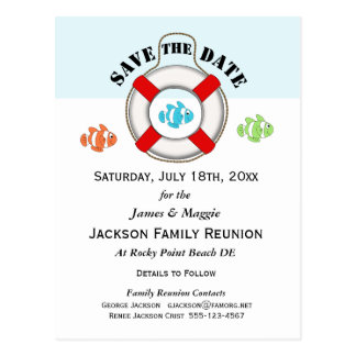 Beach Family Reunion or Party Save the Date Postcard