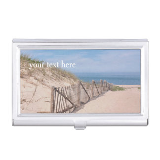 Beach fence along the path in sand dunes business card cases