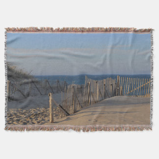 Beach fence along the path in sand dunes throw blanket