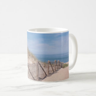 Beach fence and sandy beach on Cape Cod Coffee Mug
