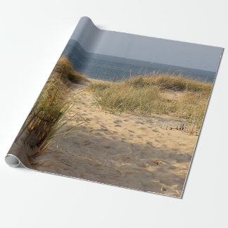 Beach fence in the sand dunes wrapping paper