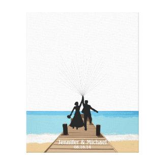 Beach Fingerprint Balloon Guestbook Canvas Prints