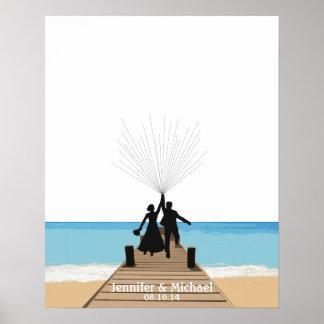 Beach Fingerprint Balloon Guestbook Posters