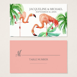 Beach Flamingo Tropical Leaf Escort Table Seating Business Card