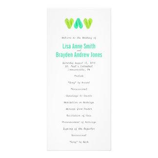 Beach Flip Flop Hearts Wedding Program Teal Lime Full Color Rack Card