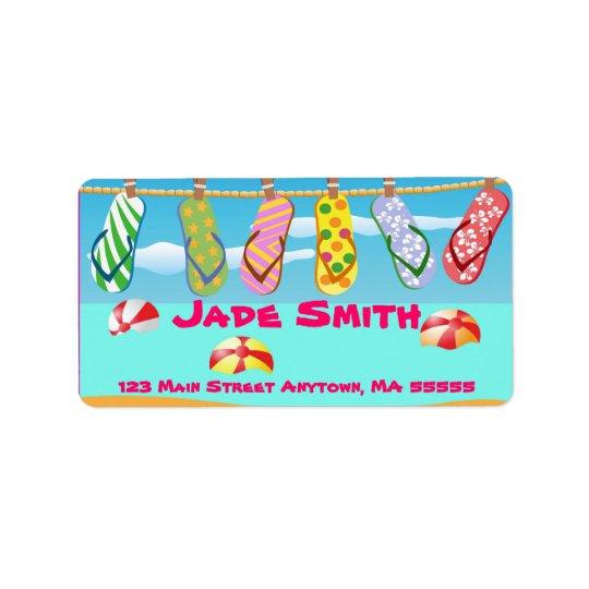 Beach Flip Flops Address Labels