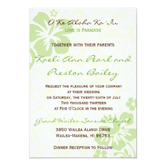 Beach Flowers - Green (5x7) 13 Cm X 18 Cm Invitation Card