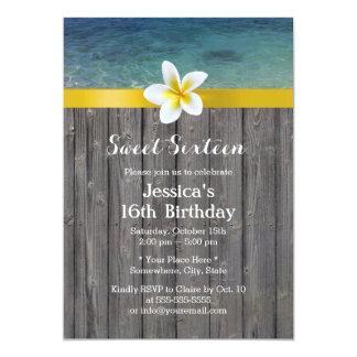 Beach & Frangipani Flower Wood Background Sweet 16 Card