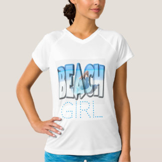 Beach Girl in Sexy Soft Ocean Blue and White T-Shirt