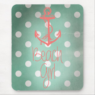 """Beach Girl"" Nautical Anchor Mint Polka Dots Mouse Pad"
