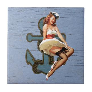 Beach Girl Nautical Anchor Pin Up Girl Sailor Small Square Tile