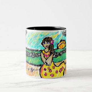 beach girl Two-Tone coffee mug