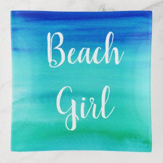 Beach Girl Watercolor Script Trinket Tray
