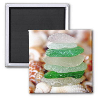 Beach Glass on Seashells Magnet