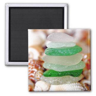 Beach Glass on Seashells Magnet