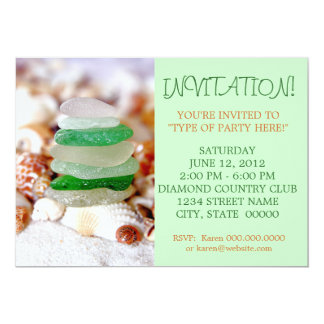 Beach Glass & Seashells Invitations