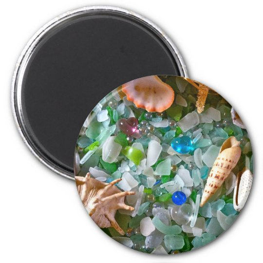 Beach Glass with Shells Magnet