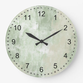 Beach Green Cream Sand abstract Wall Clocks