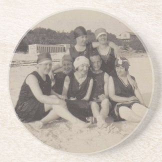 Beach Group 1920 Vintage Photograph Coaster
