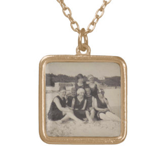 Beach Group 1920 Vintage Photograph Gold Plated Necklace